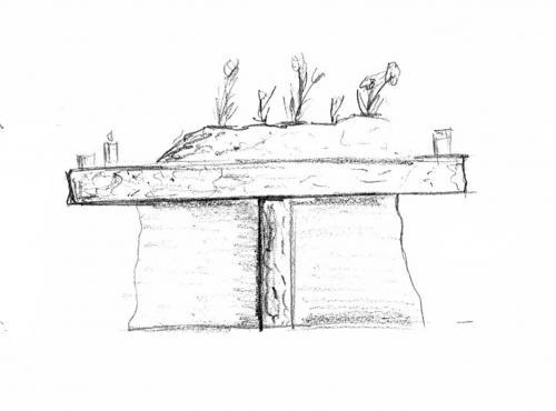 Kamenný stůl pro odkládání květin a svíček